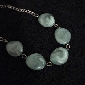 See glass green necklace